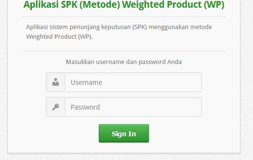 Aplikasi Weigthted Product Berbasis Web